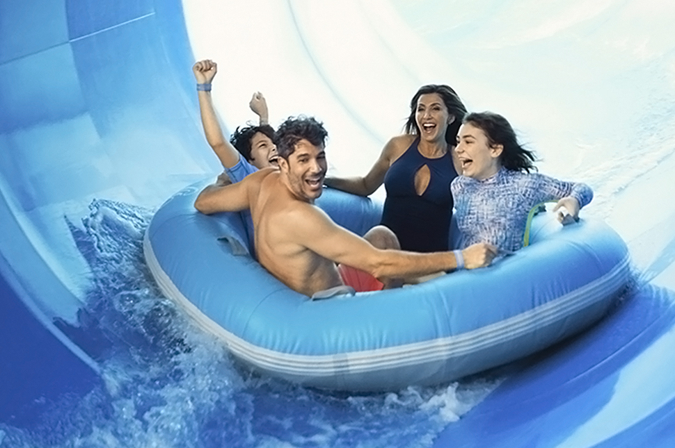 Family in tube at SoundWaves at Gaylord Opryland, Nashville